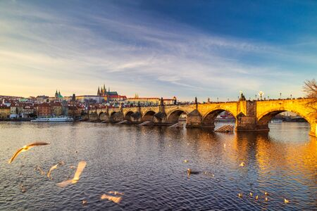 Charles bridge with Prague Castle on background at sunset, Prague, Czech Republic, Europe.