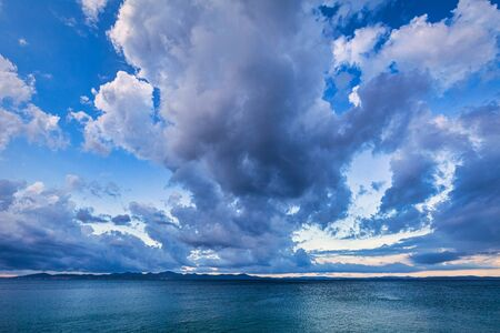 Dramatic morning sky on the Adriatic Sea. View from the Kozino village near Zadar town in Croatia, Europe. Stock Photo