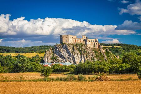 Medieval castle Beckov with surrounding landscape on a summer sunny day, Slovakia, Europe.