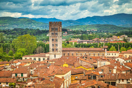 Top view on historic centre of Lucca city in Tuscany, Italy, Europe. Editorial