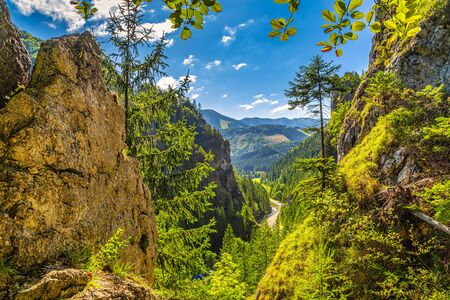 Mountainous landscape with a rocky strait on a sunny morning. Vratna valley in Mala Fatra National Park, Slovakia, Europe.