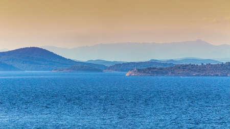 Panoramic view of Adriatic coast near Primosten town, a popular tourist destination on the Dalmatian coast of Adriatic sea in Croatia, Europe.