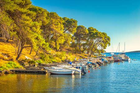 Boat port on the Adriatic coast in Croatia, Europe. Stock Photo