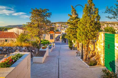 Street of Primosten town, a popular tourist destination on the Dalmatian coast of Adriatic sea in Croatia, Europe.
