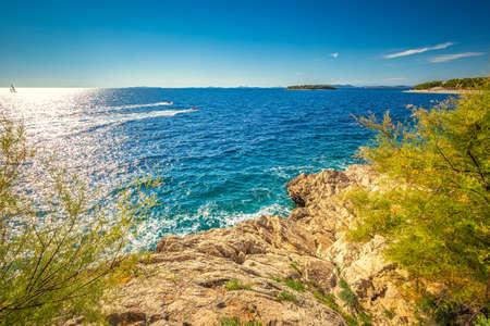Adriatic coast in Primosten town, a popular tourist destination on the Dalmatian coast of Adriatic sea in Croatia, Europe.