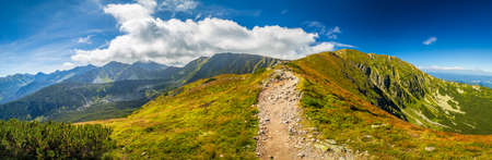 Panoramic view of mountain landscape in Rohace area of Tatra National Park, Slovakia, Europe.