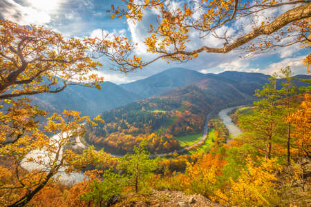 Autumn landscape with meander of a river. The Domasin meander on the Vah river. The Mala Fatra national park, Slovakia, Europe.