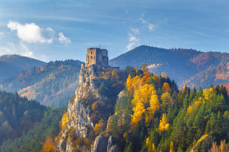 Medieval castle Strecno in the autumn mountain landscape, Slovakia, Europe.
