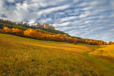 Autumn rural landscape. The medieval castle Lietava, Slovakia, Europe. Stockfoto
