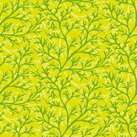 potherb: Green dill ornate seamless pattern on bright background. Herb organic spice for healthy eating