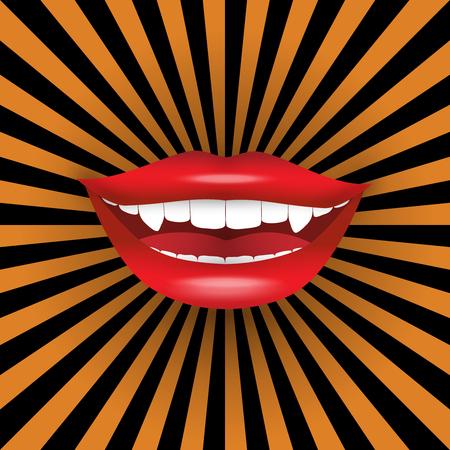 vampire teeth: Big vampire smile on halloween background Illustration