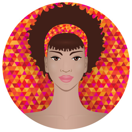 triangular eyes: Illustration of African American girl with afro hairstyle, placed on bright tribal background. Suitable for avatar, icon or hairstyles representation