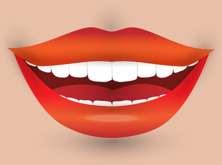 sexual pleasure: smiling mouth of a woman, with red lips and white teeth