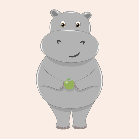 ittle: Cute smiling cartoon hippo with an apple Illustration