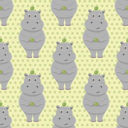 cute children: Cute little hippo seamless pattern. Cartoon animal design for children products