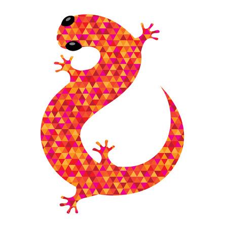 lagartija: Icono Salamander lleno con el modelo triangular brillante.