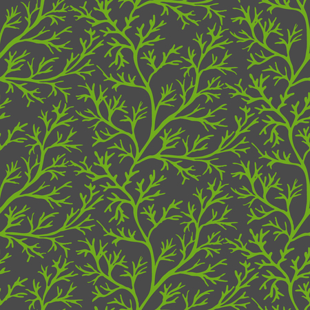 potherb: Green dill ornate seamless pattern on dark gray background. Herb organic spice for healthy eating