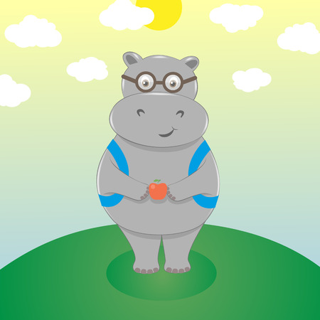 scholar: Cute smiling cartoon hippo in eyeglasses with backpack and an apple. Scholar go to school, back to school. Vector illustration