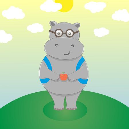 hipopotamo cartoon: Sonriente lindo hipopótamo de la historieta en lentes con mochila y una manzana. Académico ir a la escuela, de nuevo a la escuela. Ilustración vectorial