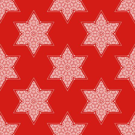 shalom: Ornamented Star of David seamless pattern Illustration