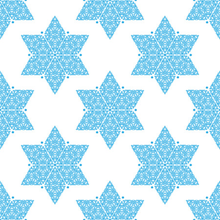 shalom: Ornamented Star of David seamless pattern Illustration