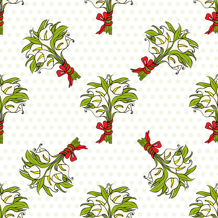 bunched: Calla lilies gift bouquets seamless pattern. Flowers bunched with ribbon bow. Wedding bouquets on dotted background. Vector illustration Illustration
