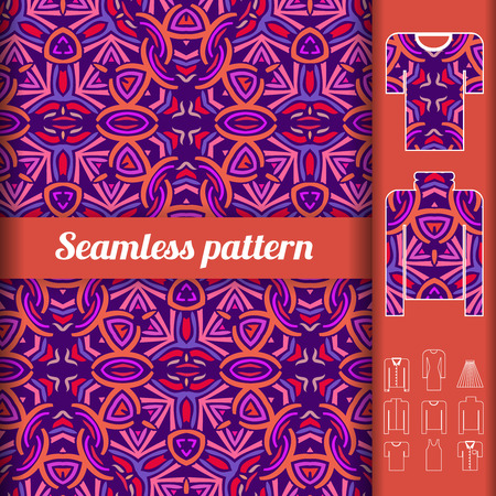 sorted: African style seamless pattern with examples of usage. Repeating ornament for fashion clothes. Vector illustration sorted in layers for easy editing Illustration