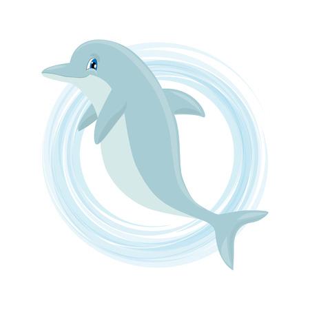 delfin: Cute cartoon delfinów. ilustracji wektorowych nadaje się na zaproszenia, broszury, ulotki, kupony Ilustracja
