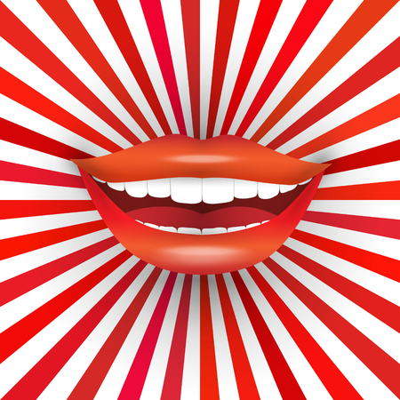 Happy smiling womans mouth on red sunburst background. Big smile, red lipstick, white teeth