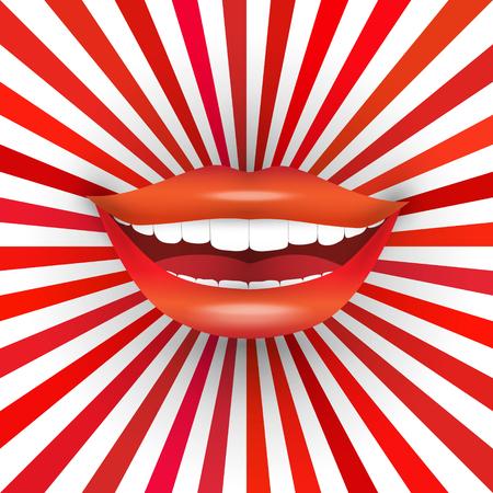 beso: La boca de la mujer sonriente feliz en el fondo del resplandor solar rojo. Gran sonrisa, lápiz labial rojo, dientes blancos Vectores