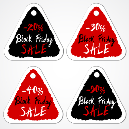 discount tag: Black Friday Sale tags with numbers of discount percentage. Grungy triangular stickers. Hand drawn letters. Vector illustration