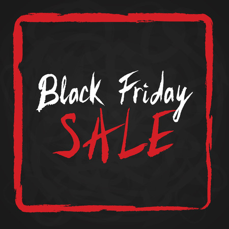 discount store: Black Friday Sale. Lettering inside red painted frame on chalkboard. Hand drawn calligraphy vector illustration.Usable for flyers, gift cards, vouchers