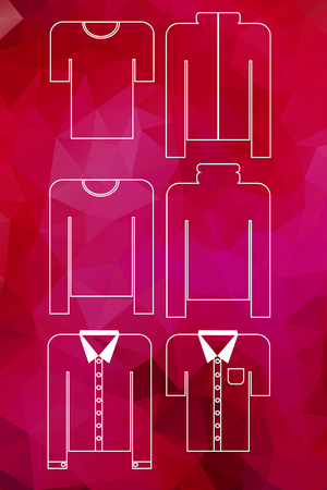 garnet: Men clothes icons set on garnet  gem background. Vector illustration useful for labels, tags, sale announcement, stickers, emblems, badges Illustration