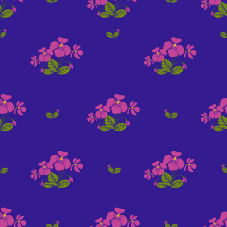 cyclamen: Seamless pattern with bunches of tender violet flowers in retro style . Vector illustration Illustration