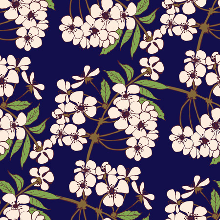 plums: Cherry blossom seamless pattern. Floral vector design for textile, decorative paper, packaging, invitations, cards.