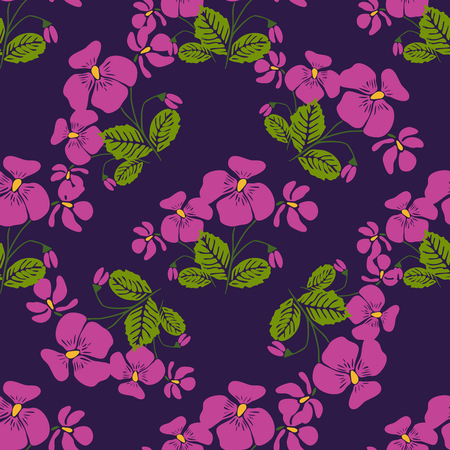 shop tender: Seamless pattern with bunches of violet flowers in retro style. Vector illustration for textile, decorative paper, packaging, invitations, cards.