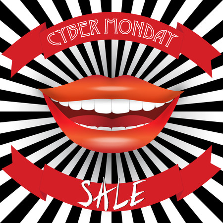 blak and white: Sale announcement poster. Cyber Monday Sale text on blackwhite burst background with smiling woman mouth. Usable for flyers, cards, vouchers, banners. labels. Isolated by layers, editable vector.