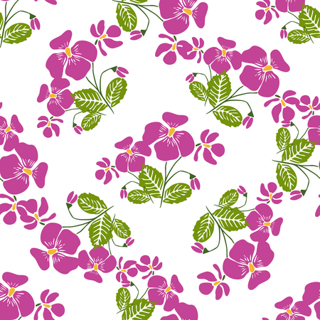 cyclamen: Seamless pattern with bunches of violet flowers in retro style. Vector illustration for textile, decorative paper, packaging, invitations, cards.