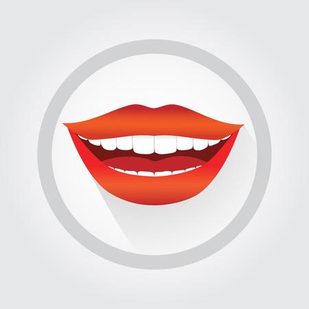 Le sourire symbole de la femme. sourire Bonne femme illustration dans le style cartoon plat. Grand sourire, rouge à lèvres, les dents blanches. Banque d'images - 49604954