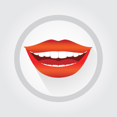 Woman's smile symbol. Happy smiling woman vector illustration in cartoon flat style. Big smile, red lipstick, white teeth.