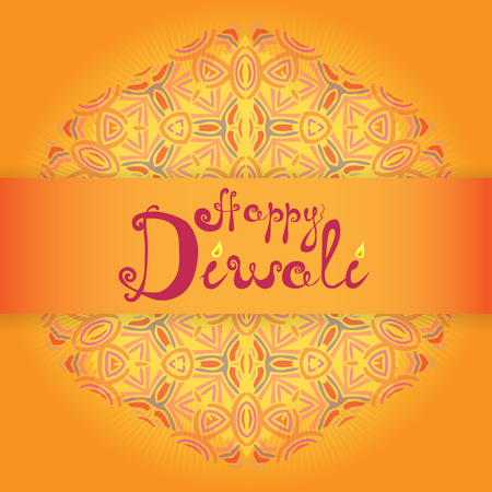 Indian festival of lights. Inscription Happy Diwali! n decorative handwritingon bright background with shiny mandala ornament. Bright design for cards, posters, banners. Vector illustration sorted by layers