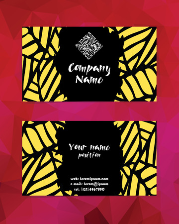 ide: Artistic modern business card template. Corporate identity presentation. Original company logo, expressive rough background. Vector illustration sorted in layers for easy editing Illustration