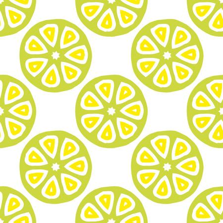 柑橘系の果物とシームレスなベクトル パターンをカットしました。ジュース包装、包装紙、スクラップブッ キング、子供プロジェクトの明るい着色