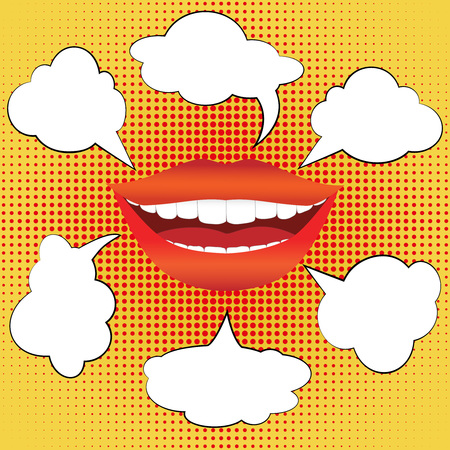 mouth smile: Pop art style smiling woman mouth with different blank speech bubbles. Sexy smile with red lips and white teeth on bright halftone background. Vector illustration