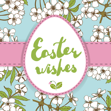 egg shaped: Easter greeting card. Handwritten phrase: Easter wishes on egg shaped label. Cherry blossoms seamless pattern as background.  Separated in layers.