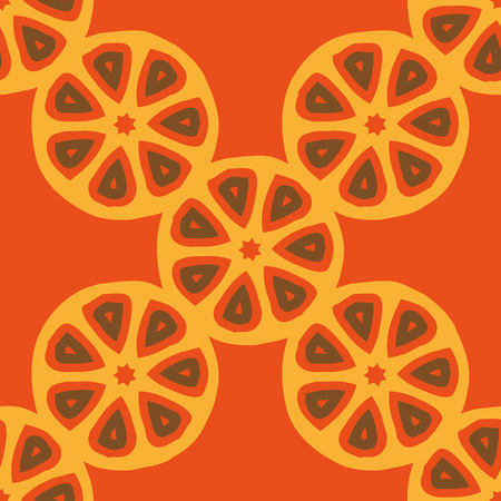 Seamless vector pattern with abstract citrus fruit cuts. Bright colored repeating pattern  wrapping paper, scrapbooking, children projects. Ilustração