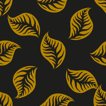 whirling: Elegant retro style leaves seamless pattern. Vector design for packaging, textile print, wrapping paper.