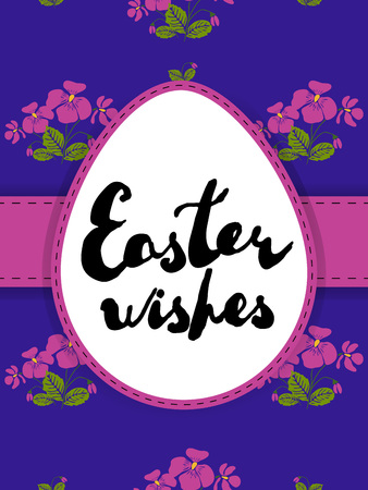 Easter greeting card. Handwritten phrase: Easter wishes on egg shaped label. Violet flowers seamless pattern as background.  Vector illustration separated in layers. Ilustração