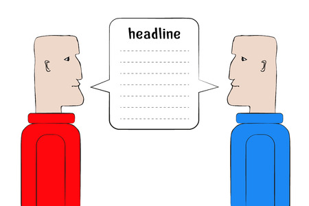 Two man staring at each other. Red vs. Blue. Symbol of discussion, negotiation, debates, confrontation, arguing, public speech, conflict. United speech bubble for your text. Vector illustration.