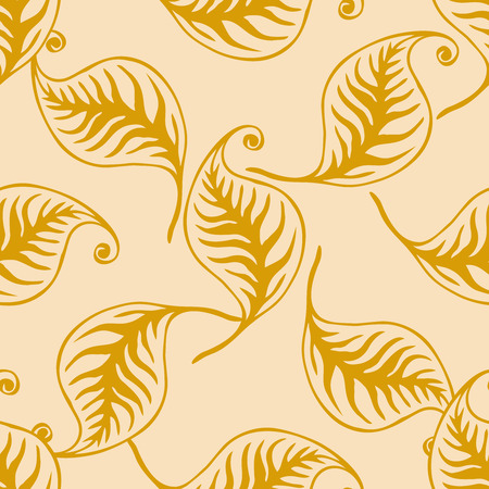 Elegant retro style leaves seamless pattern. Vector design for packaging, textile print, wrapping paper.